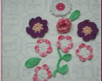 Flowers and leaves mix crochet cotton purple gradient pink and white