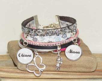 Cuff Bracelet personalized with 2 first names of your choice of leather, suede and liberty color silver, blue, pink