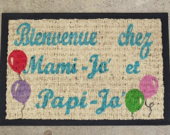 "Doormat personalized ""Welcome to Grandma and Grandpa!"" Turquoise Blue, multicolor balloons"