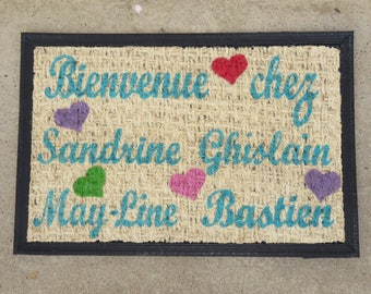 "Doormat personalized ""Welcome!"" with hearts and names of family members"