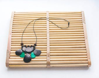 Tagua seed and wooden beads necklace.