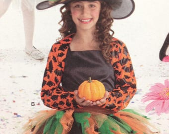 Simplicity 2071 Sewing Pattern, Tutu Halloween Costume, Witch, Bumble Bee. Clown, Size 3 - 6, OOP