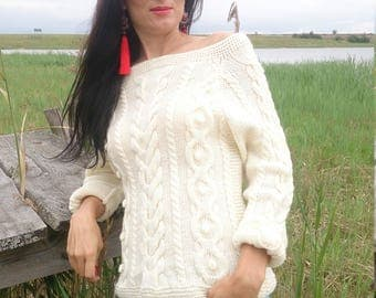 Sweaters For Women, Aran Sweaters For Women, Aran Sweater, Aran Sweater Women, Aran Sweater White, Hand Knitted Sweater,Chunky Sweater White