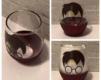 Harry Potter Inspired Stemless Wine Glass