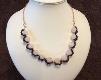 Frosted Rose Quartz and Garnet Chip Necklace