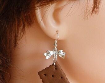 Polymer clay cookie earrings