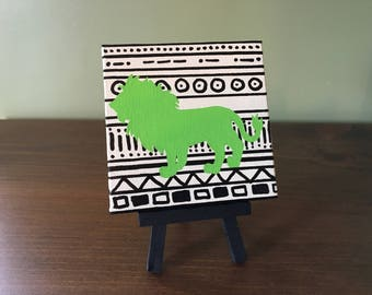 """Tribal Lion 4"""" x 4"""" canvas painting with easel"""