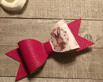 Easter bow/ hot pink/ bunny