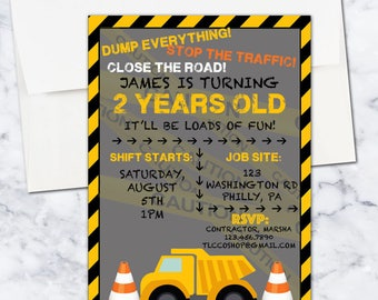 Construction Birthday Invitation, 5x7, Boy, Digital Download, Black, Yellow