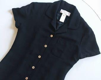 1990s jones new york black minidress with silver buttons