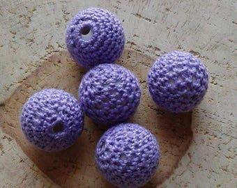 Lot 5 purple 20mm crochet beads
