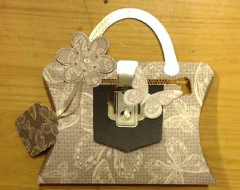 "Card / packaging ""Mini handbag"" - open to put a gift inside!"