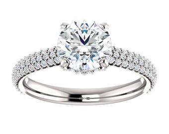 Forever One Moissanite Engagement Ring- Arizona | round | secret halo moissanite engagement ring