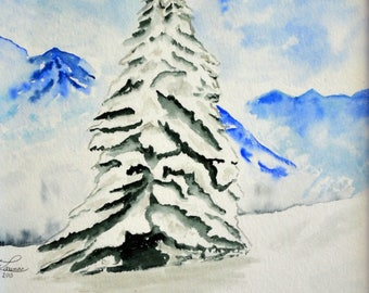 Watercolor painting of a tree in winter