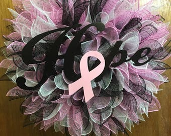 Breast Cancer Hope Wreath, Breast Cancer Awareness Wreath