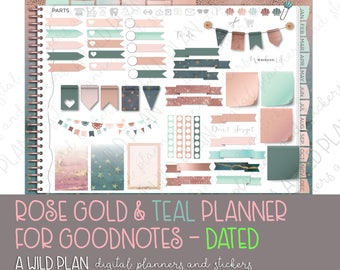 GoodNotes iPad digital planner starter kit- Rose Gold & Teal Digital- 2018 DATED months with hyperlinks