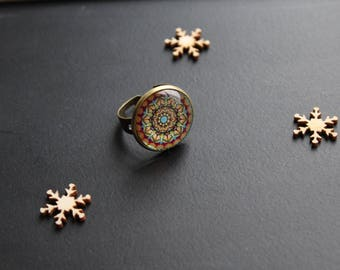 Ethnic, bronze, glass cabochon ring