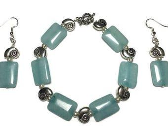 Pale aqua glass bead, pale aqua beaded bracelet, earrings, sea green glass, jewelry set, under 20 dollars, silver sea shells, gift for her