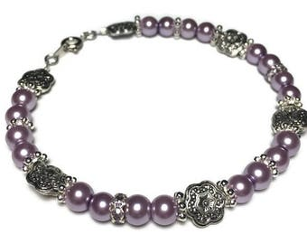 Lilac pearl bracelet, lilac pearl earrings, bridesmaid jewelry, bridal jewelry, pearl jewelry, jewelry set, mother of the bride, nickel free