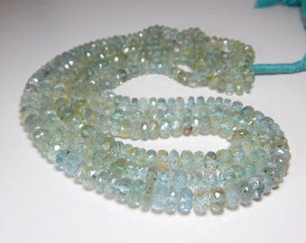 blue aquamarine faceted rondelle beads 3-6mm