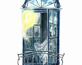 Literary Window Series: Peter Pan inspired 5x7 Watercolor Art Print, Neverland, Tinker Bell, Nursery, Children's Books, Classic Literature,