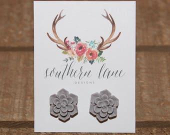 Matte Gray Succulent Flower Stud Earrings