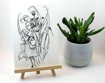 Postcard A6 Arrietty card - Ghibli fanart Marylou Deserson Illustration _ _