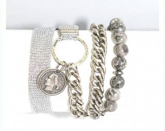 Coin jewelry, Coin wrap bracelet, Wrap bracelet, Modern bracelet, Fashion bracelet, Women bracelet, Gift under 50, For her, Coin bracelet