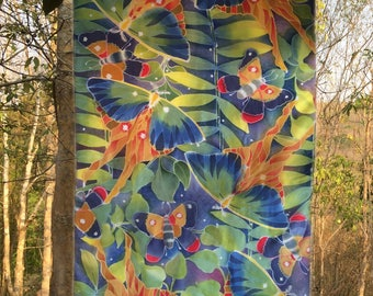 Lovely colorful butterfly, hand-painted batik on 100% Thaisilk, shawl/scarf, one-of a-kind, wearable art.
