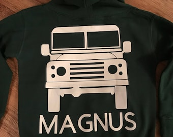 Landrover Hoodie - Childs Personalised