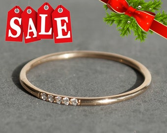 Dainty ring, 14K Gold, Simple Engagement Ring, Diamonds Engagement ring, Purity ring, Ring For Women, Diamond Stack Ring, Gold Stack ring
