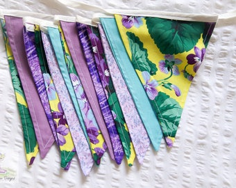 Shades of violet yellow and purple gorgeous fabric bunting perfect for girls bedroom or nursery
