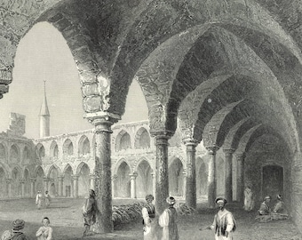 Ancient Buildings in St. Jean d'Acre, Palestine, 1840 - Old Antique Vintage Engraving Art Print - Arch, Minaret, Shade, People, Ruins, Gate