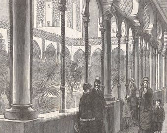 Algeria 1878, The Algerian Exhibition - Inner Court of The Algerian Palace, Old Antique Vintage Engraving Art Print, Interior, Colonnade
