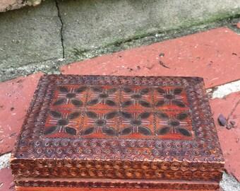 Hand carved Mahogany trinket jewelry box