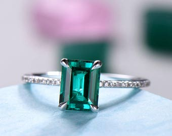 Lab Emerald Engagement Ring White Gold Emerald Cut 925 Sterling Silver Solitaire CZ Diamond Wedding Band Bridal Anniversary Gift Women Men