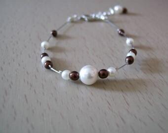 Bracelet jewelry-chocolate/brown / / brown/ivory dress of bride/wedding/party/ceremony /Coktail p original glass beads
