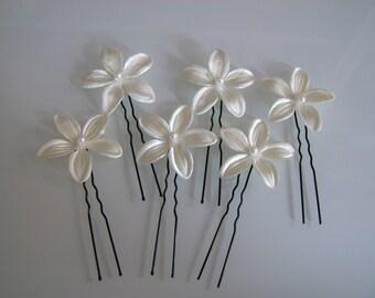 Lot 6 picks flowers bead/jewel/pin/clip/bun hair accessory p dress ceremony/wedding/bridal ivory/cream/Ecru/Beige not cheap