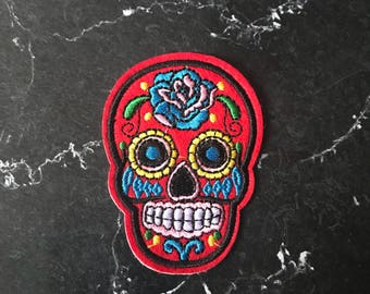 Halloween red sugar skull day of the dead patch