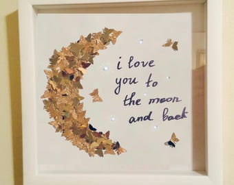 Swarovski artwork! I love you to the moon 3D butterfly's wall decor! Gold butterfly's 3D effect framed box! Valentine gift! Boyfriend gift