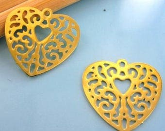 2 prints - Diam 18mm - gold - #M61 stylized heart pendant