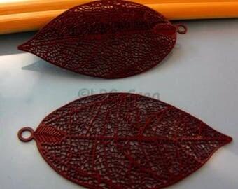 2 filigree prints - VIOLET purple - leaf shape - max: 50x25mm Sun # A32