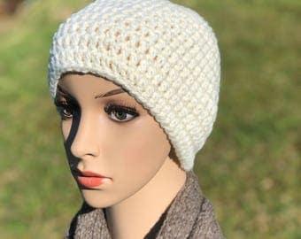 White wool crocheted beanie