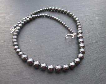 Gray hematite necklace