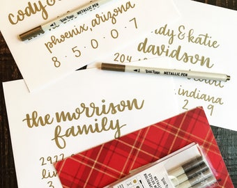 Hand-lettered envelope addressing