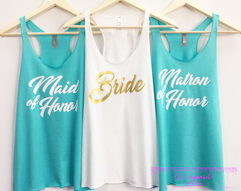 Bride Tank-Bridesmaid Tank-Maid of Honor Shirt-Matron of Honor Shirt-Mother of the Bride/Groom-Bachelorette Party-Bridal Party Tanks Gold