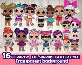 LOL SURPRISE clipart, Lol surprise glitter.LOL digital file,Lol themed party,Lol surprise glitter series.Lol surprise scrapbook,Lol doll png