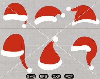 Santa Hat SVG, Christmas Santa Claus Hat Clipart, cricut, cameo, silhouette cut files commercial use