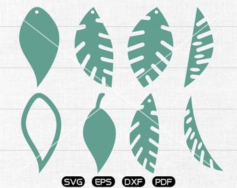 Leaf SVG, Leaf earrings svg, leather jewelry making Clipart, cricut, silhouette cut files commercial use