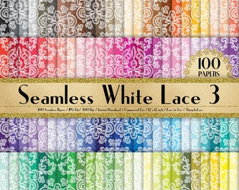"""100 Seamless White Lace Papers in 12"""" x 12"""", 300 Dpi Planner Paper, Commercial Use, Scrapbook Paper, Rainbow Paper, 100 Lace Papers"""